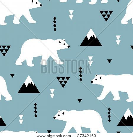 Seamless white polar bear arctic winter scandinavian kids design fabric background pattern in vector