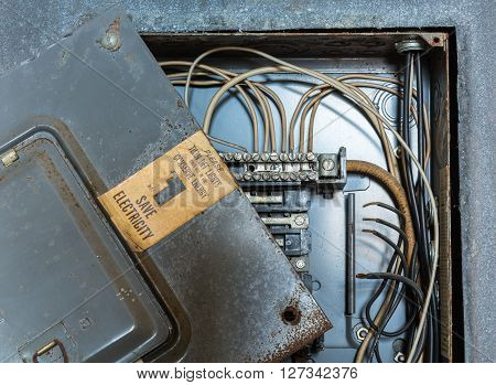 Old Electrical Distribution Or Wiring Box
