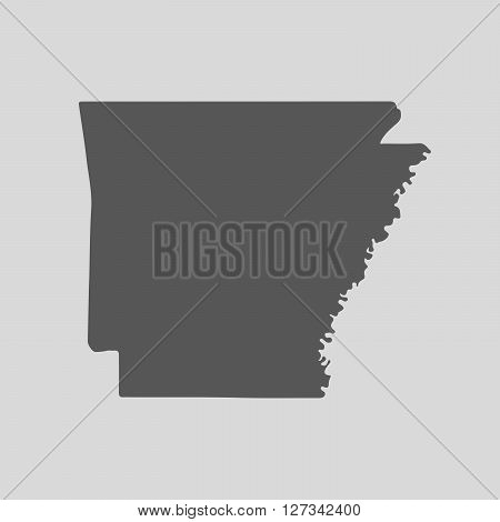 Black map of the State of Arkansas - vector illustration. Simple flat map State of Arkansas.