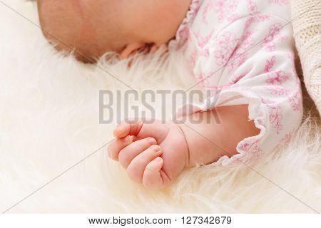Baby Girl Laying On Her Blanket