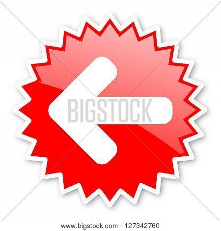 left arrow red tag, sticker, label, star, stamp, banner, advertising, badge, emblem, web icon