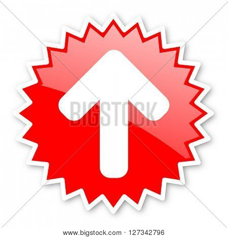 up arrow red tag, sticker, label, star, stamp, banner, advertising, badge, emblem, web icon