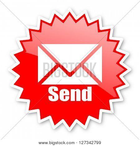 send red tag, sticker, label, star, stamp, banner, advertising, badge, emblem, web icon