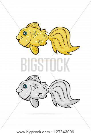 Icons of cartoon Goldfish isolated on white background, illustration.
