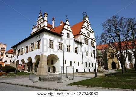 Levoca PRESOV SLOVAKIA - APRIL 03 2016: View on the old building and church in historical center of Levoca Slovakia.