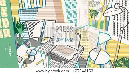 Room interior. Workspace. Pop art style background