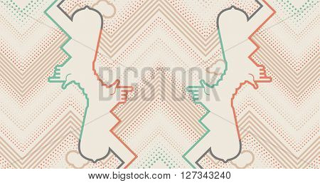 Abstract background with contour hands, clouds and dots. Pop art style background