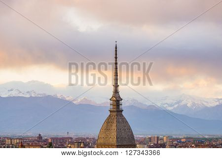 Cityscape Of Torino (turin, Italy) At Sunset With Storm Clouds