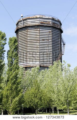 ancient gasometer in Brescia in northern Italy
