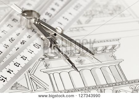drawings of architectural details & folding ruler, compass