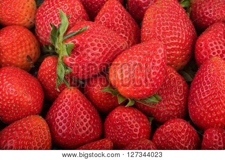 Fresh strawberry background. Ripe strawberry in close-up.