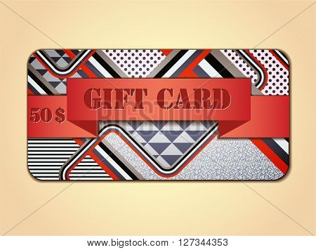 Retro stile abstract gift card. Illustration 10 version