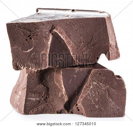 Chocolate block isolated on a white background.