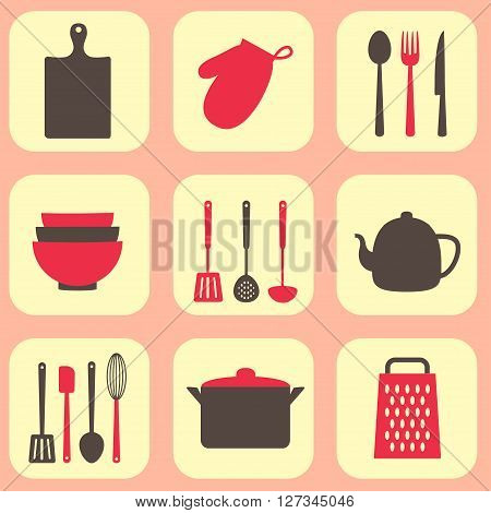 Kitchen tools vector pattern. Utensil and kitchenware icons