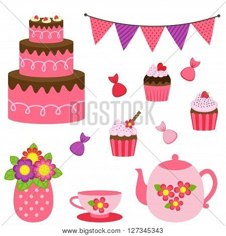 Vector set of tea pots, cups and desserts in red and pink colors