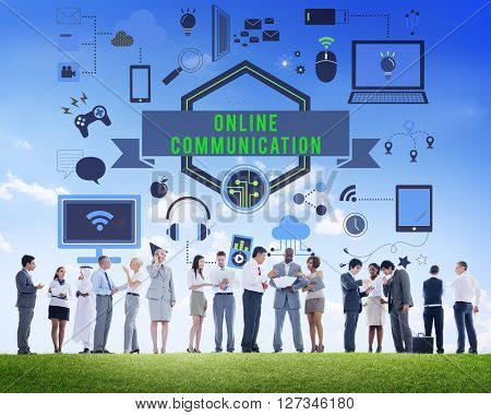 Online Communication Banner Graphics Concept