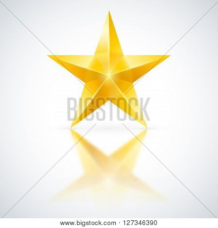 Yellow star of five points on white background.