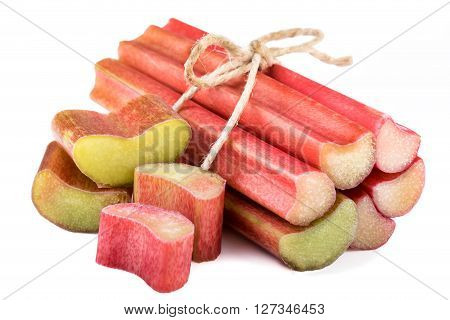 Bundle of rhubarb isolated on white background