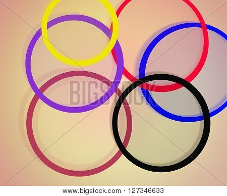 bright and motley abstract rings on the brown background