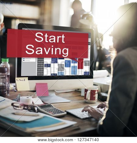 Start Saving Economy Banking Financial Concept