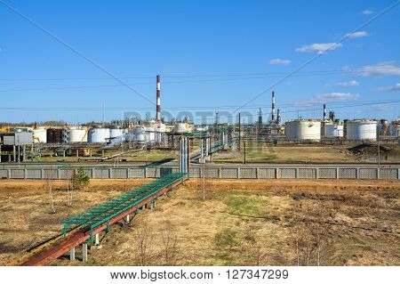 Factory on oil refining and production of gasoline.