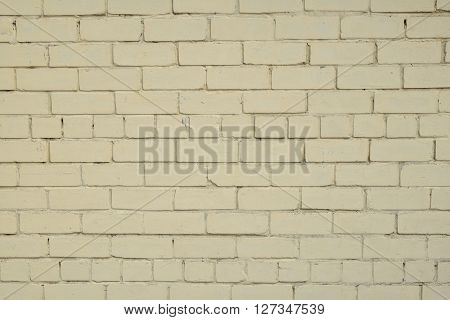 Yellow Beige Painted Brick Wall Background
