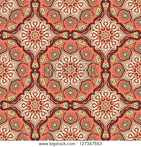 Seamless pattern with beautiful ethno Mandalas in brown colors. Vector illustration