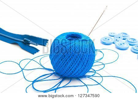 Spool Of Thread, Zipper And Buttons