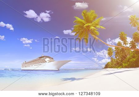 Luxurious Cruise Ship By The Beach With Palm Coconut Trees.