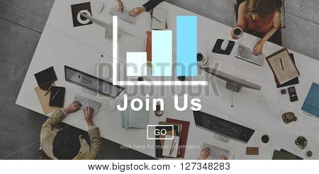 Join Us Recruitment Online Technology Website Concept