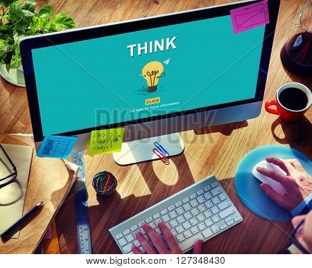 Think Word Light Bulb Graphics Concept
