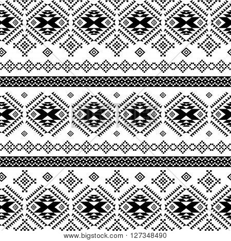 Seamless ethnic pattern background with geometric aztec, maya, peru, mexican, tribal, american, indian elements.Seamless textile pattern