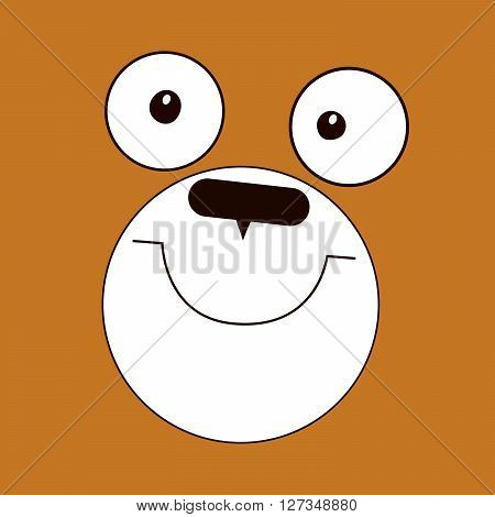 Simple comic face of bear - vector illustration. Cartoon of a cute bear. Pretty face of a brown bear.