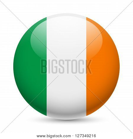 Flag of Ireland as round glossy icon. Button with Irish flag
