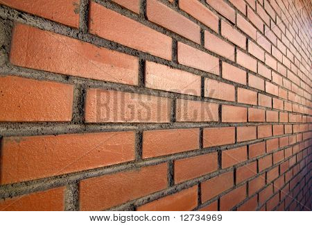tilt wall, red bricks and sun