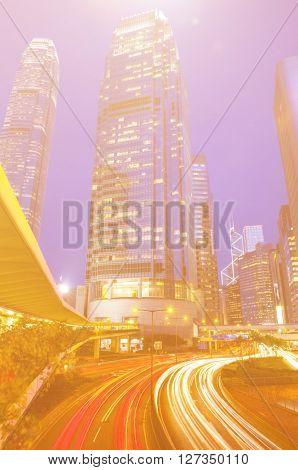 Hong Kong City Lights Cityscape Concept