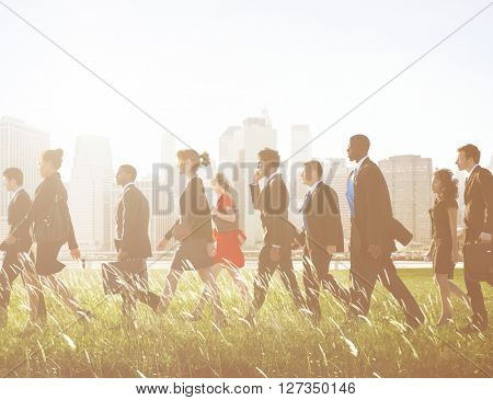 Business People Working Walking Outdoor Team Concept