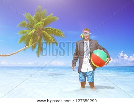 Businessman relaxing on vacation.