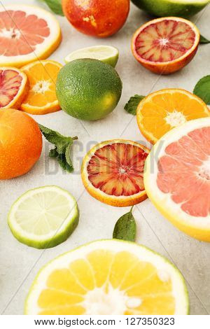 Various citrus fruits on the table