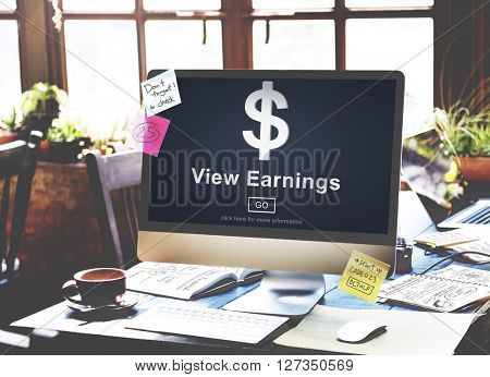 View Earnings Money Accounting Financial Concept