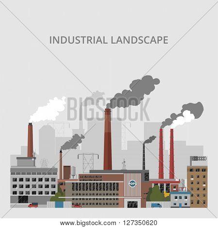 Industrial landscape. Industrial enterprises on a gray background