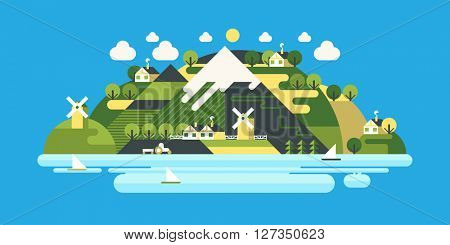 Landscape in the mountains. Solitude in nature by the river. Hiking and camping. Vector flat illustration. Mountain trail