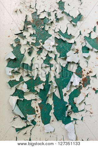 Old Green Paintwork On Wall Peeling Off