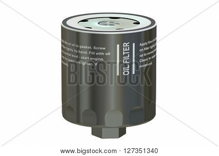 Car Oil filter 3D rendering isolated on white background