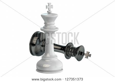 King checkmate concept 3D rendering isolated on white background