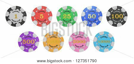 set of Casino Tokens stack 3D rendering isolated on white background