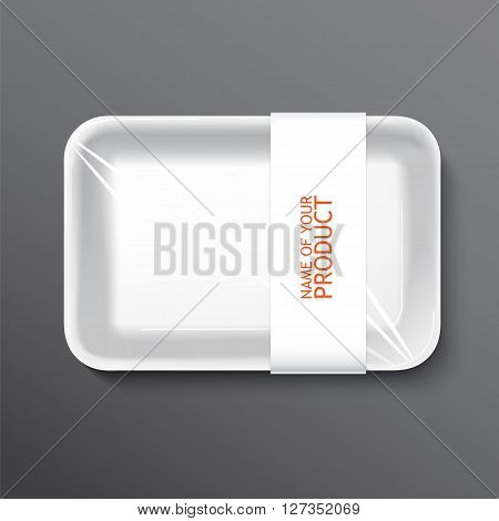 empty wrapped food tray. empty plastic container over white background, .