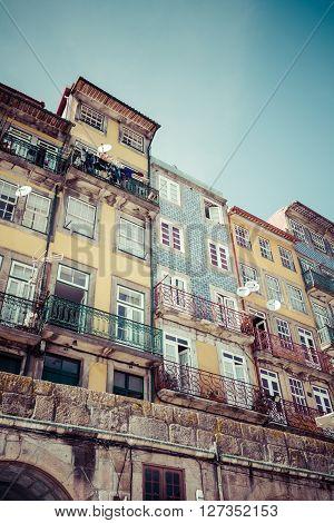 Porto Portugal 21 May 2015: Colorful houses of Porto Ribeira Portugal