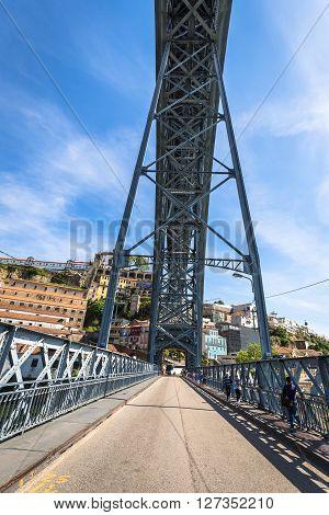 Porto Porugal 21 May 2015:City of Porto in Portugal. Ponte Luiz I Bridge