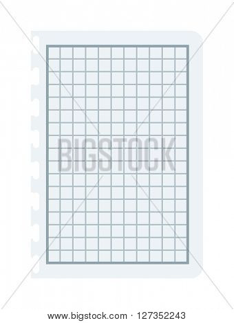 Notebook paper with lines and grid vector illustration.
